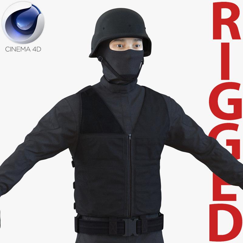 c4d swat man asian rigged