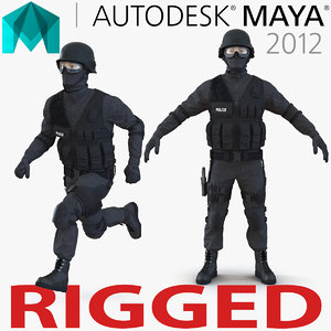 swat man asian rigged 3d model