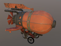 battle red airship 3d c4d