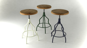 french cafe stool 3d model