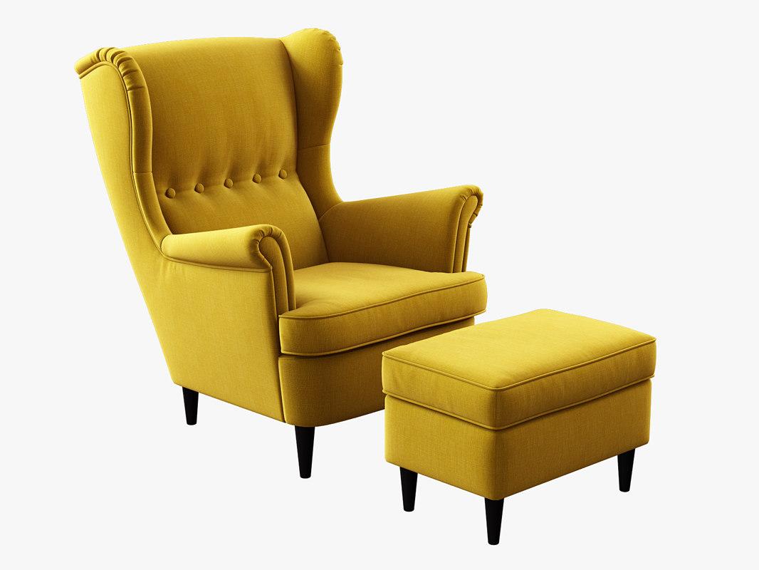 Model Ikea Strandmon Wing Chair Ottoman