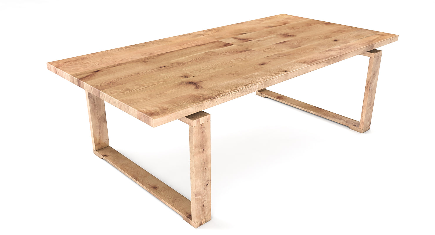 3d t1-solid wood table oak model