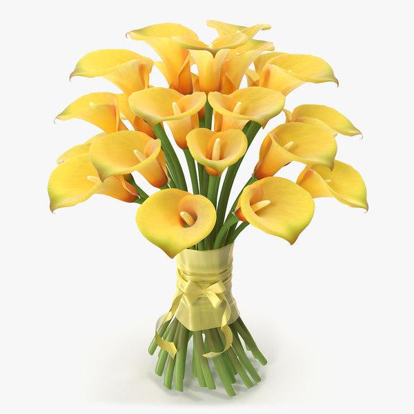 3d bouquet calla flowers model