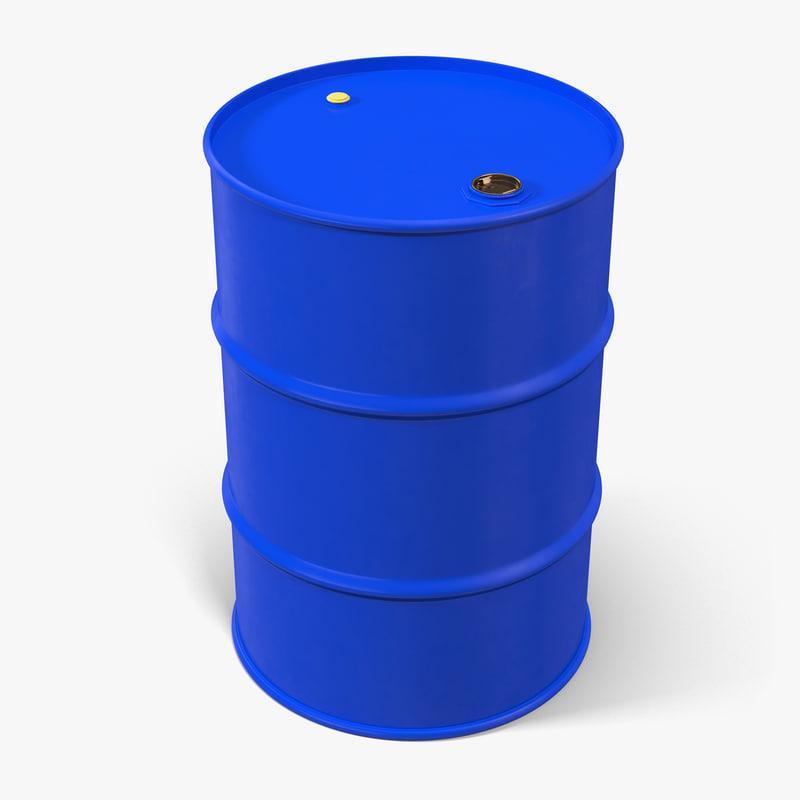 oil drum 200l blue 3d max