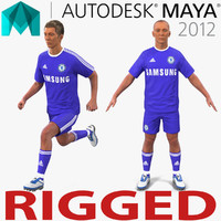 soccer player chelsea rigged 3d ma
