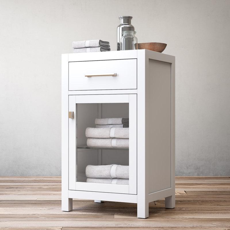 hutton glass single-drawer base 3ds