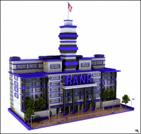 3d bank building model