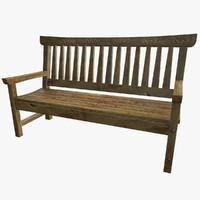 3d model classic park bench