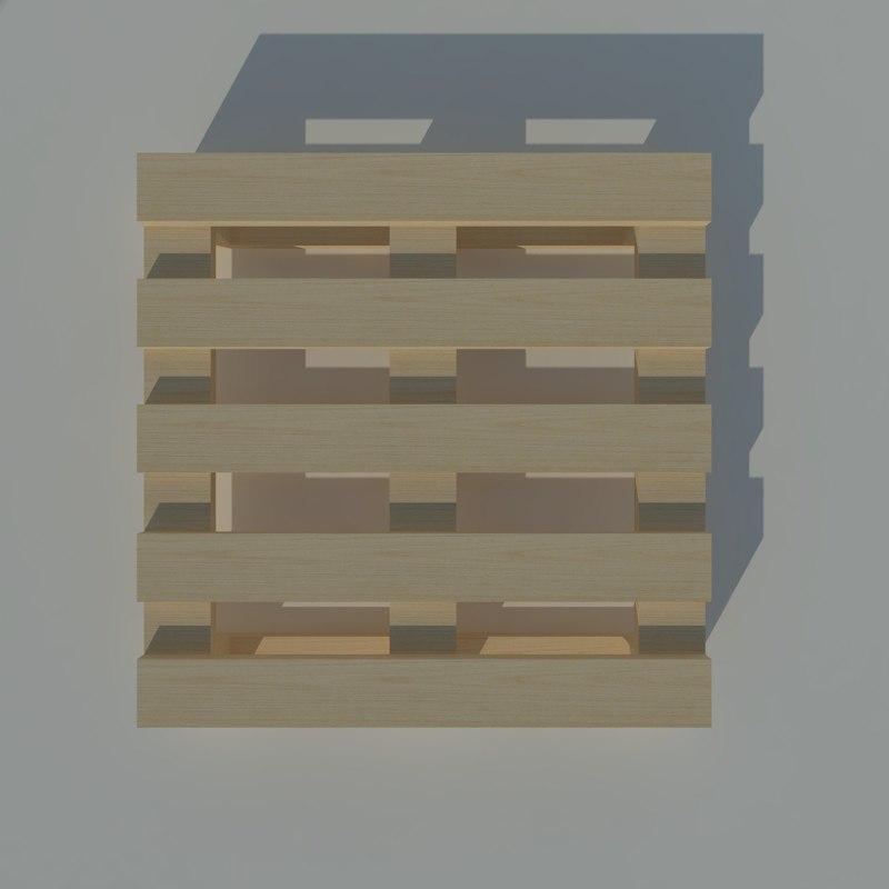 pallet legno 3d 3ds