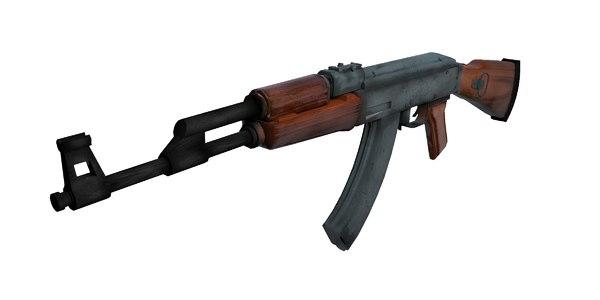 3d model of low-poly ak-47