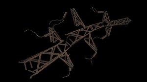 3d fallen transmission tower