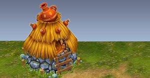 3d model handpainted fantasy hut