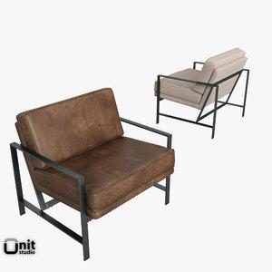 metal frame chair west 3d model