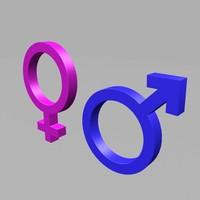 3d gender symbols model