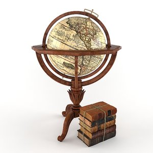3d globe antique