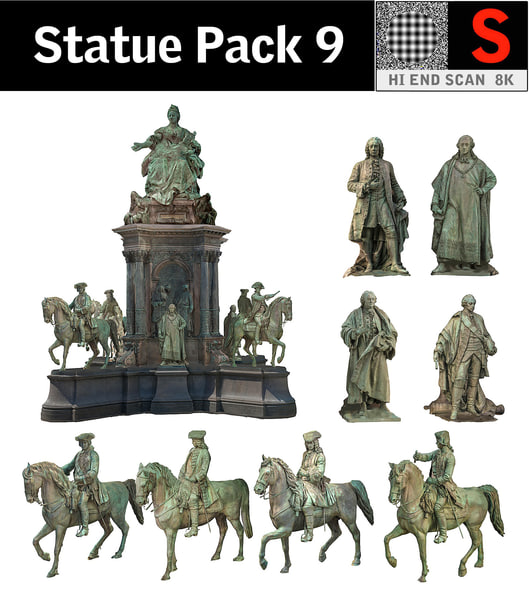 statue pack 9 3d model