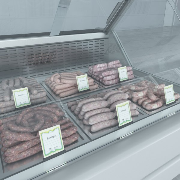 3d custom refrigerated showcase sausages model