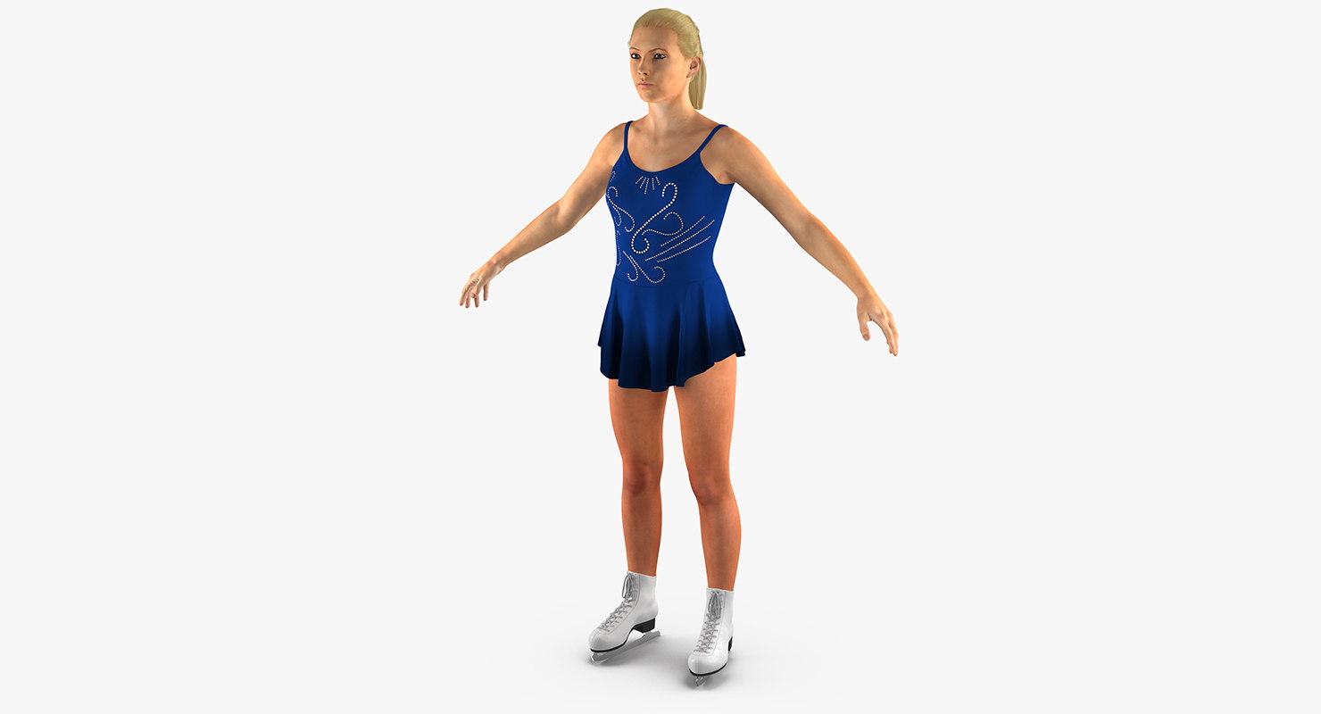 female figure skater 2 3d max