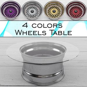 table wheels 3d max