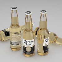 beer bottle corona extra 3d model