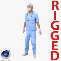 male surgeon asian rigged 3d c4d