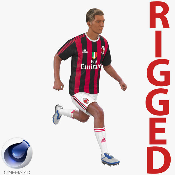 soccer player milan rigged c4d