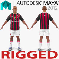 3d model soccer player milan rigged