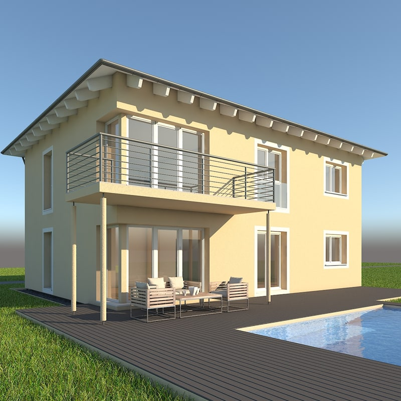 modern single family home 3d model