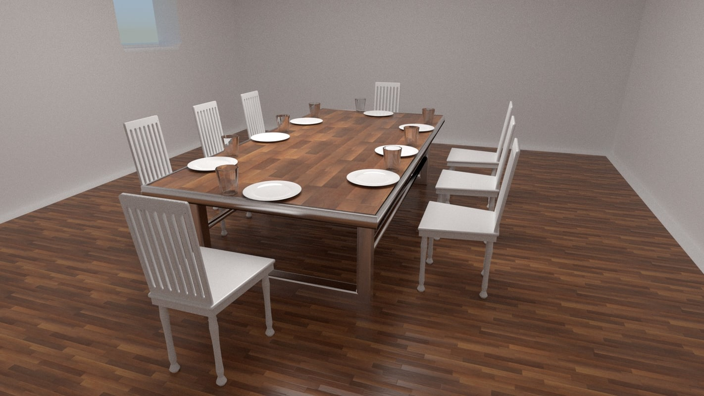 3d 3ds set chairs table