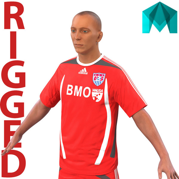 soccer player rigged 3d ma