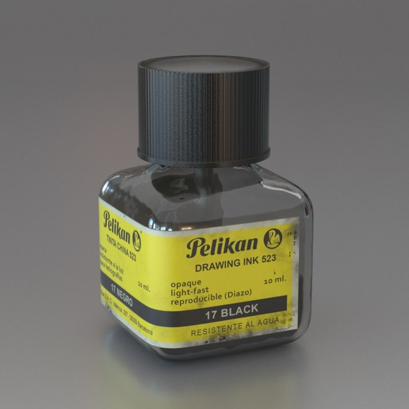 3d max black ink bottle