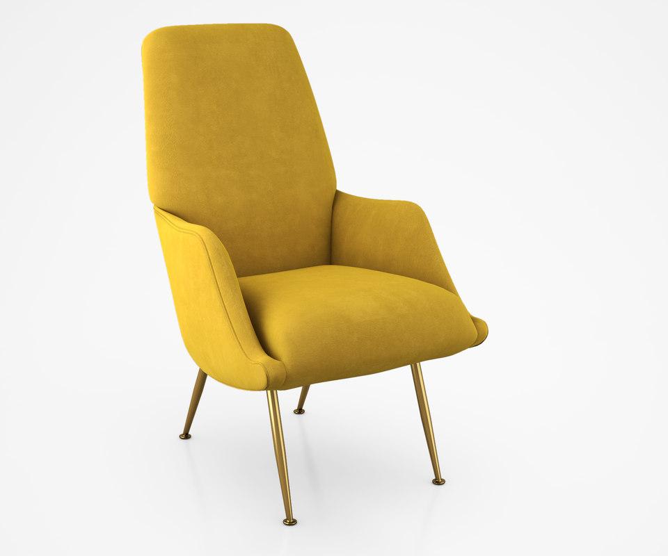 armchair chair brass 3d max