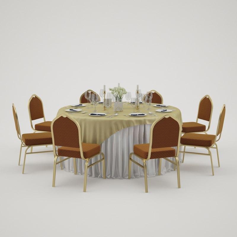 banquet table 3d 3ds