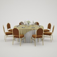 banquet table 3d 3ds