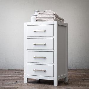 3d model hutton four-drawer base