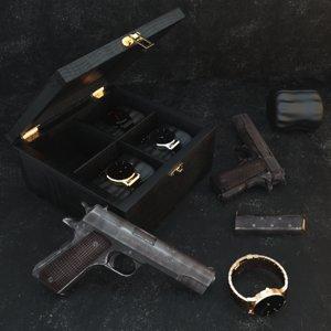 gold colt m1911 3d max