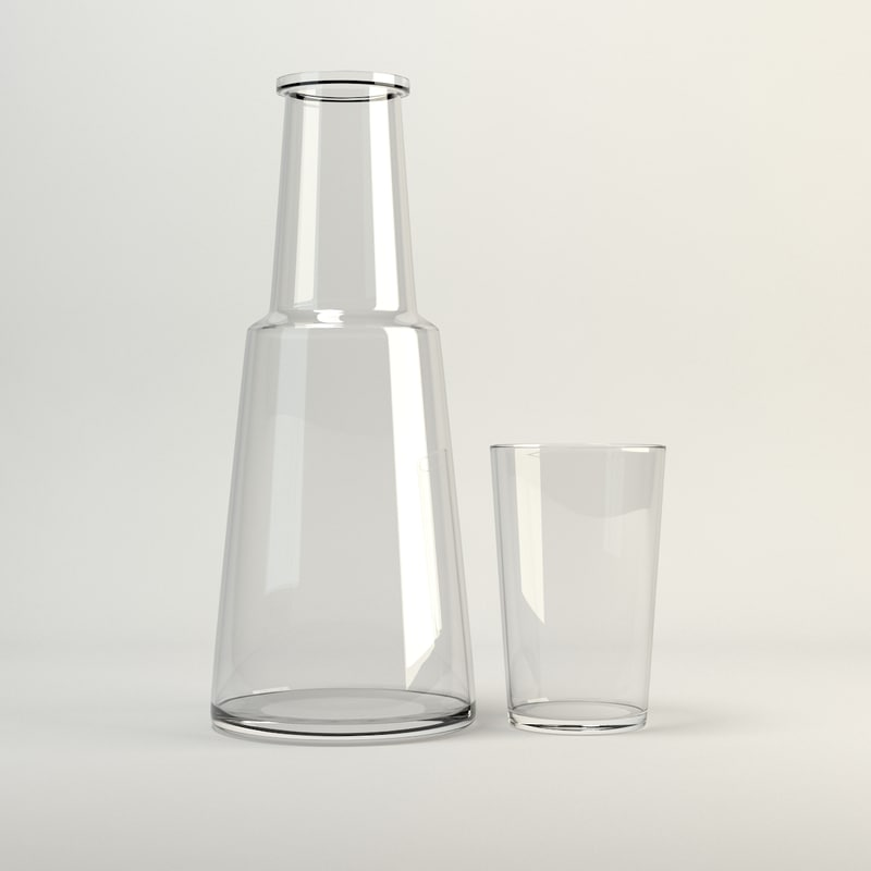 drinking glass carafe tumbler 3d model