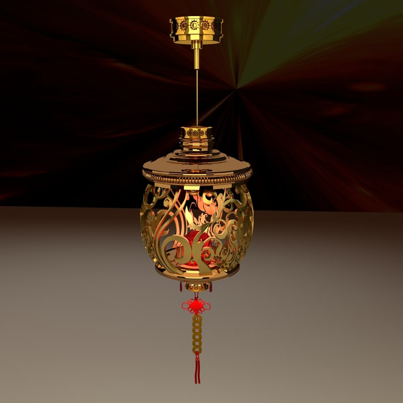 chinese red lantern 3d obj