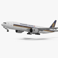 Boeing 777 200ER Singapore Airlines Rigged 3D Model