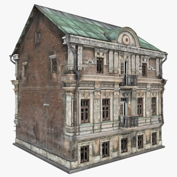 old abandoned townhouse house 3d model