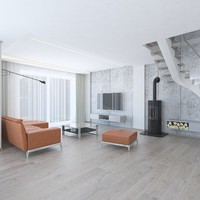 3d model modern living room concrete wall
