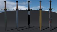 3d model swords steel bronze
