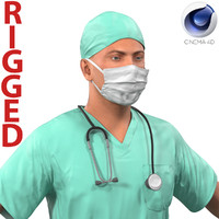 Male Surgeon Caucasian Rigged for Cinema 4D