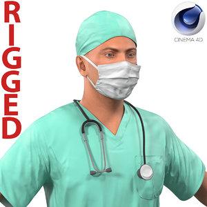 male surgeon rigged c4d