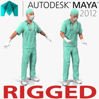 Male Surgeon Caucasian Rigged for Maya