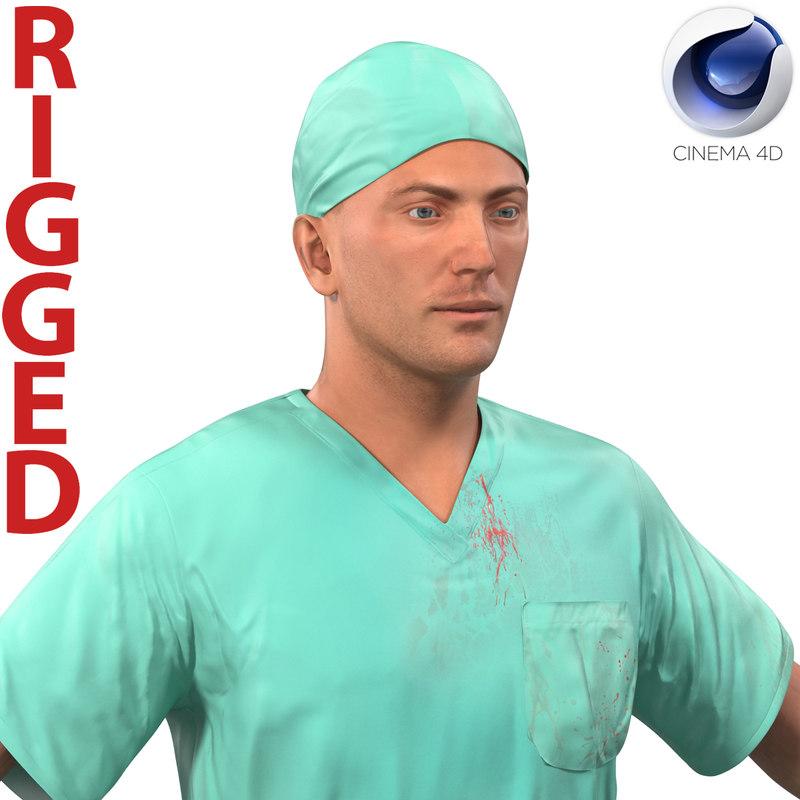 male surgeon caucasian rigged 3d c4d