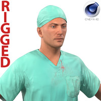 male surgeon caucasian rigged 3d c4d