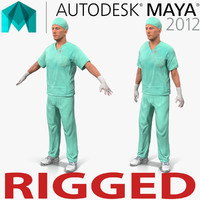 male surgeon caucasian rigged 3d model