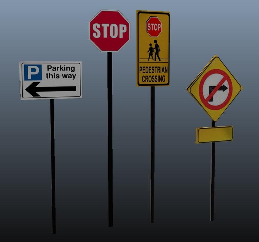 3d parking road sign model