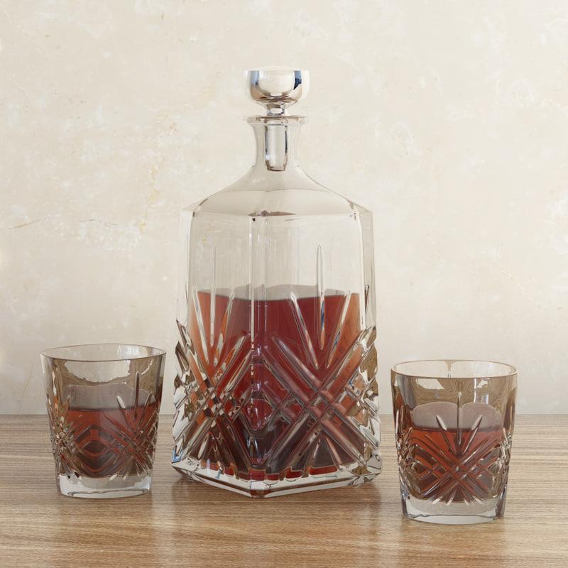 3d model decanter glass whiskey
